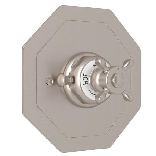 Edwardian Octagonal Concealed Thermostatic Trim without Volume Control - Satin Nickel with Cross Handle