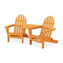 View Product - Classic Folding Adirondacks with Connecting Table in Tangerine