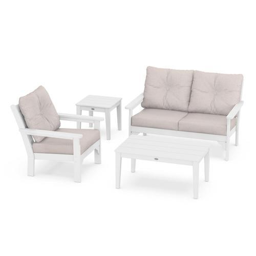 Vineyard 4-Piece Deep Seating Set in White / Dune Burlap