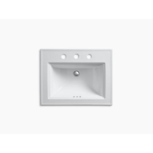 "Ice Grey Drop-in Bathroom Sink With 8"" Widespread Faucet Holes"