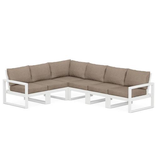 Polywood Furnishings - EDGE 6-Piece Modular Deep Seating Set in White / Spiced Burlap