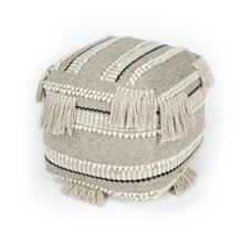 Create your perfect space with the addition of this tasseled Pouf! The comfy, bohemian vibe lends casual glamour to any space. This round, grey toned Pouf is adorned with the perfect amount of tassels. Perfect for use in a living room, entryway, bedroom or dorm room.