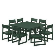 View Product - EDGE 9-Piece Farmhouse Trestle Dining Set in Green