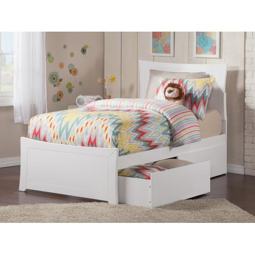 Metro Twin XL Bed with Matching Foot Board with 2 Urban Bed Drawers in White