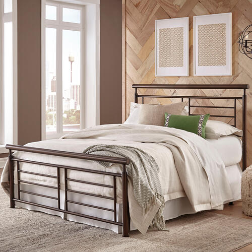 Fashion Bed Group - Southport Metal Headboard and Footboard Bed Panels with Geometric Grills and Rounded Top Rails, Copper Penny Finish, King