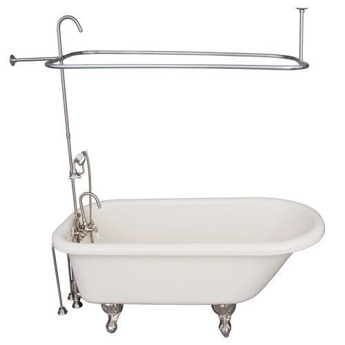 "Anthea 60"" Acrylic Roll Top Tub Kit in Bisque - Brushed Nickel Accessories"