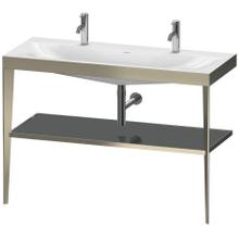 View Product - Furniture Washbasin C-bonded With Metal Console Floorstanding, Flannel Gray High Gloss (lacquer)
