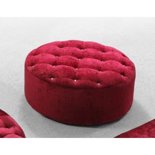 VIG Furniture - Divani Casa Cosmopolitan - Transitional Red Fabric Round Ottoman