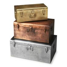 These metal trunks in silver-toned, bronze-toned, and gold-toned finishes with matching clasps and hands are as functional as they are fashionable.