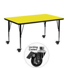 Mobile 24''W x 48''L Rectangular Yellow HP Laminate Activity Table - Height Adjustable Short Legs
