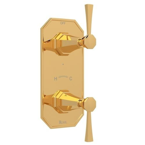 """English Gold Perrin & Rowe Deco 1/2"""" Thermostatic/Diverter Control Trim with Deco Metal Lever"""
