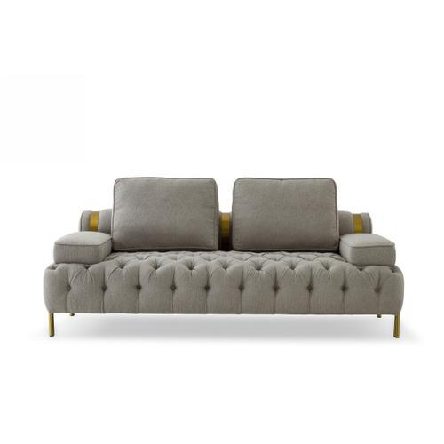 Gallery - Divani Casa Ladera - Glam Grey and Gold Fabric Loveseat