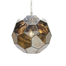 Small Antique Mirror Faceted Ball Pendant Ul Approved for One 60 Watt Bulb 3' Matching Chain Included. Additional Chain May Be Purchased Upon Request.