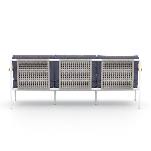 Faye Navy Cover Aroba Outdoor Sofa, White Aluminum