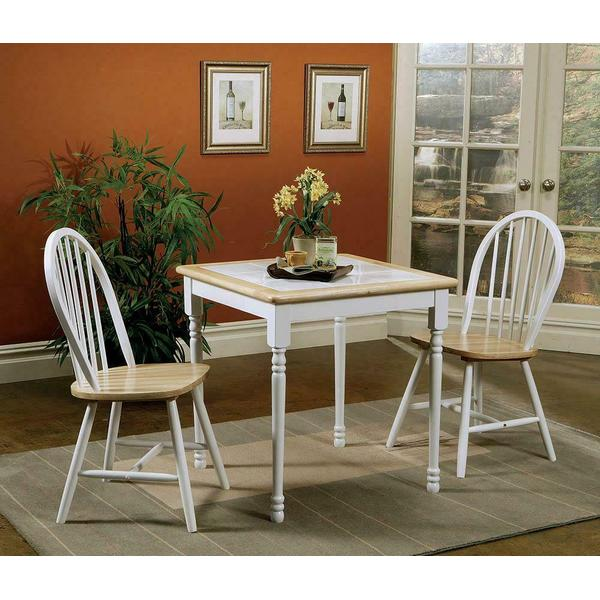 See Details - Country Natural Brown Dining Table With White Tile Top