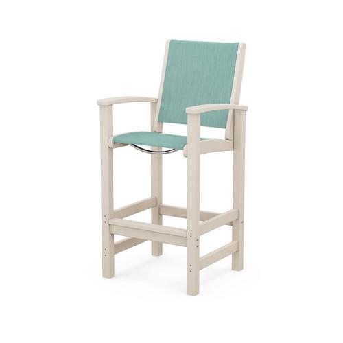 Polywood Furnishings - Coastal Bar Chair in Sand / Aquamarine Sling