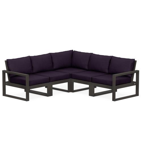 Polywood Furnishings - EDGE 5-Piece Modular Deep Seating Set in Vintage Coffee / Navy Linen