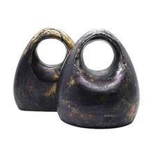 Pair of Antique Black Sculptural Bookends