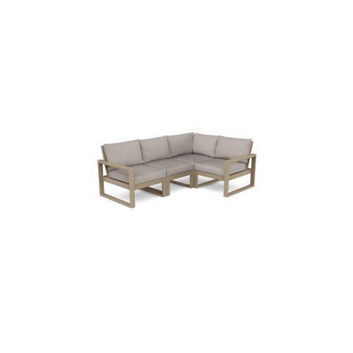 Polywood Furnishings - EDGE 4-Piece Modular Deep Seating Set in Vintage Sahara / Weathered Tweed