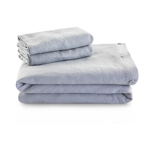 French Linen Duvet Set Queen Smoke