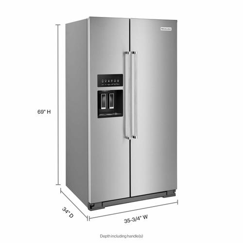 KitchenAid - 24.8 cu ft. Side-by-Side Refrigerator with Exterior Ice and Water and PrintShield™ finish - Stainless Steel with PrintShield™ Finish