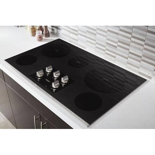 Whirlpool - 36-inch Electric Ceramic Glass Cooktop with Two Dual Radiant Elements Stainless Steel