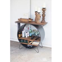 See Details - round metal cubby console with slatted wood top