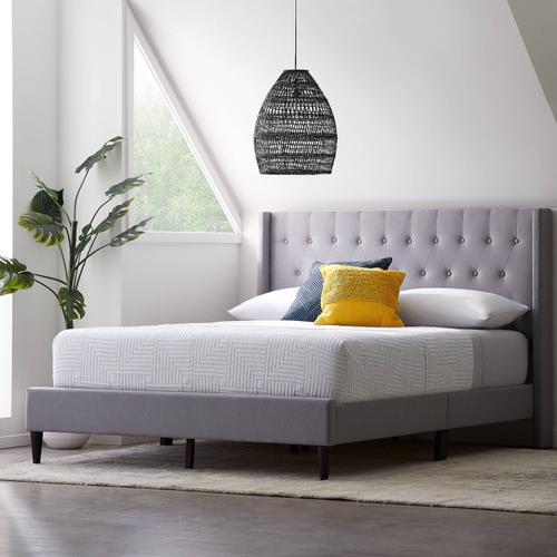 Malouf - Wren Upholstered Bed - Cal King White Gray