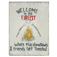 """See Details - 11-3/4""""L x 15-3/4""""H Tin Wall Decor """"Welcome To The Firepit..."""""""