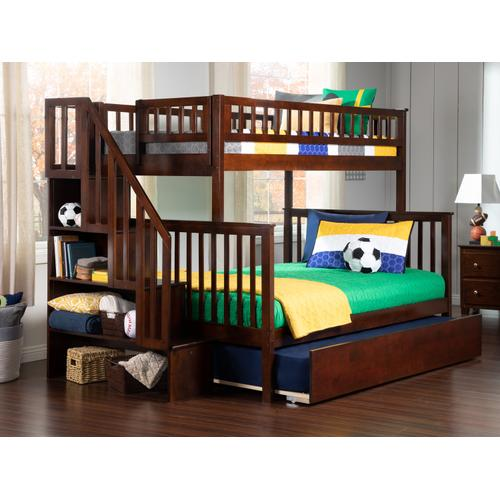 Atlantic Furniture - Woodland Staircase Bunk Bed Twin over Full with Urban Trundle Bed in Walnut