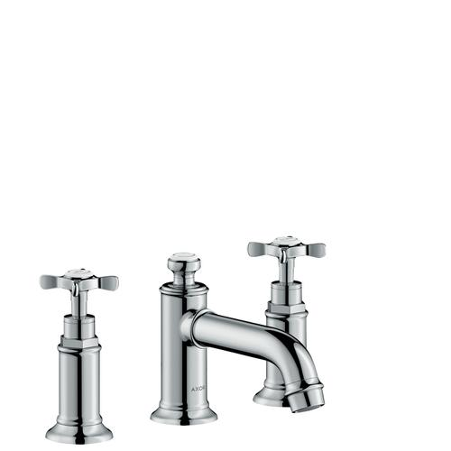 Brushed Bronze 3-hole basin mixer 30 with cross handles and pop-up waste set