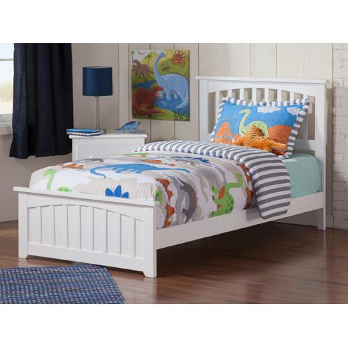 Mission Twin Bed with Matching Foot Board in White