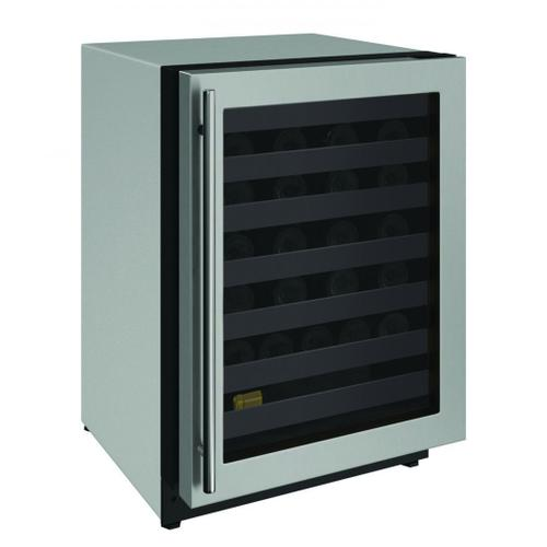 """U-Line - 2224wc 24"""" Wine Refrigerator With Stainless Frame Finish and Left-hand Hinge Door Swing (115 V/60 Hz Volts /60 Hz Hz)"""