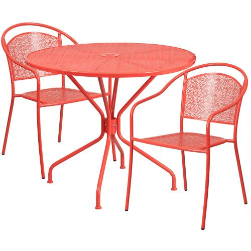 35.25'' Round Coral Indoor-Outdoor Steel Patio Table Set with 2 Round Back Chairs