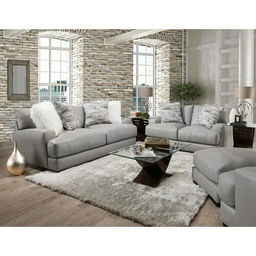 Antonia Light Gray Renevarre Leather Sofa with Accent Pillows