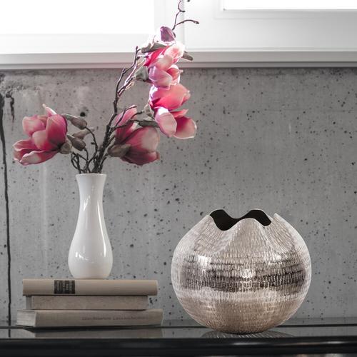 Howard Elliott - Textured Bright Silver Aluminum Pinched Top Globe Vase, Large