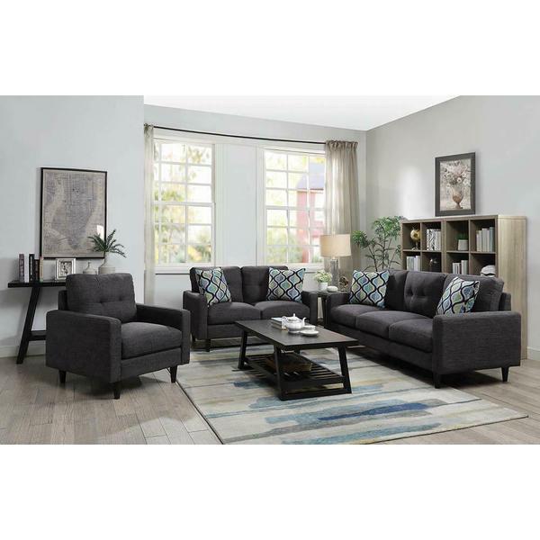See Details - Watsonville Retro Grey Sofa