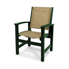 View Product - Coastal Dining Chair in Green / Burlap Sling