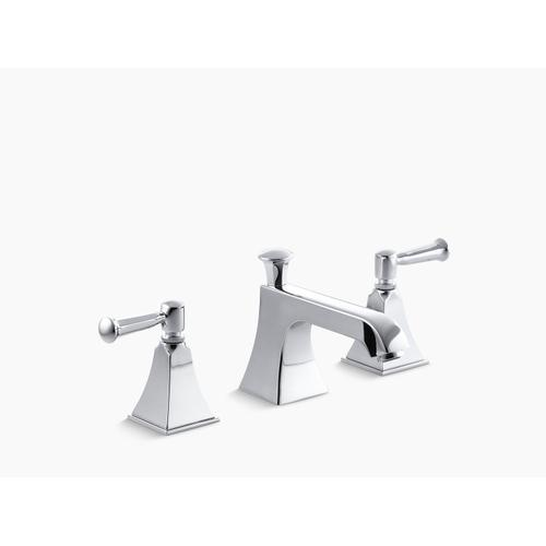 Polished Chrome Widespread Bathroom Sink Faucet With Lever Handles