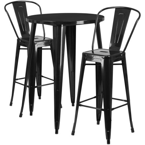 30'' Round Black Metal Indoor-Outdoor Bar Table Set with 2 Cafe Stools
