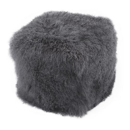 Moe's Home Collection - Lamb Fur Pouf Smoke