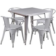 31.5'' Square Silver Metal Indoor-Outdoor Table Set with 4 Arm Chairs