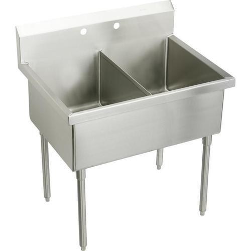 "Elkay Weldbilt Stainless Steel 57"" x 27-1/2"" x 14"" Floor Mount, Double Compartment Scullery Sink"