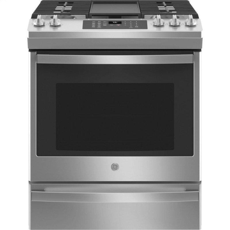 "GE(R) 30"" Slide-In Front-Control Convection Gas Range with No Preheat Air Fry"