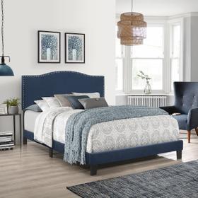 Kiley Upholstered King Bed, Blue Velvet
