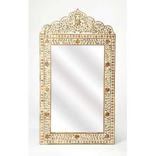 This magnificent wall mirror features sophisticated artistry and consummate craftsmanship. The botanic patterns covering the piece are created from Teak inlays cut and individually applied in a sea of whiteby the hands of a skillful artisan. No two mirrors are ever exactly alike, ensuring this piece will hang in your home, as a bonafide original.