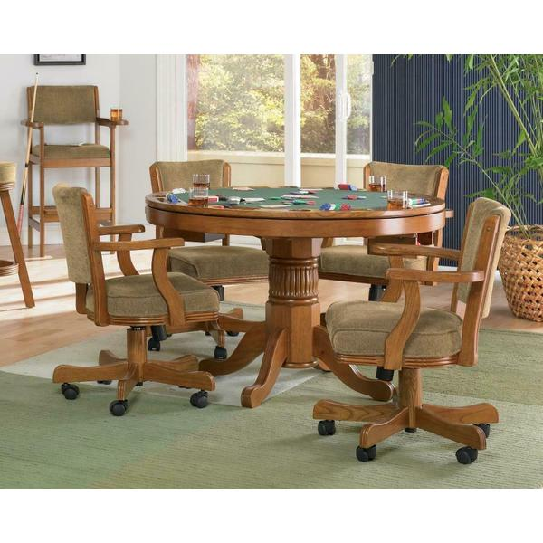 See Details - Mitchell Three-in-one Amber Game Table and Four Arm Chairs