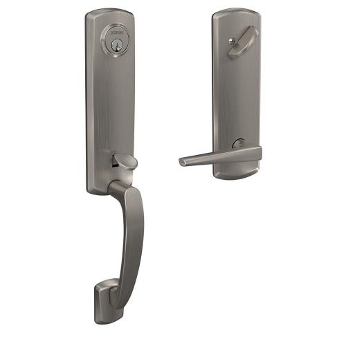 Custom Greenwich 3/4 Trim Single Cylinder Handleset with Eller Lever - Satin Nickel