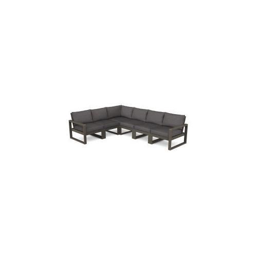 Polywood Furnishings - EDGE 6-Piece Modular Deep Seating Set in Vintage Coffee / Ash Charcoal