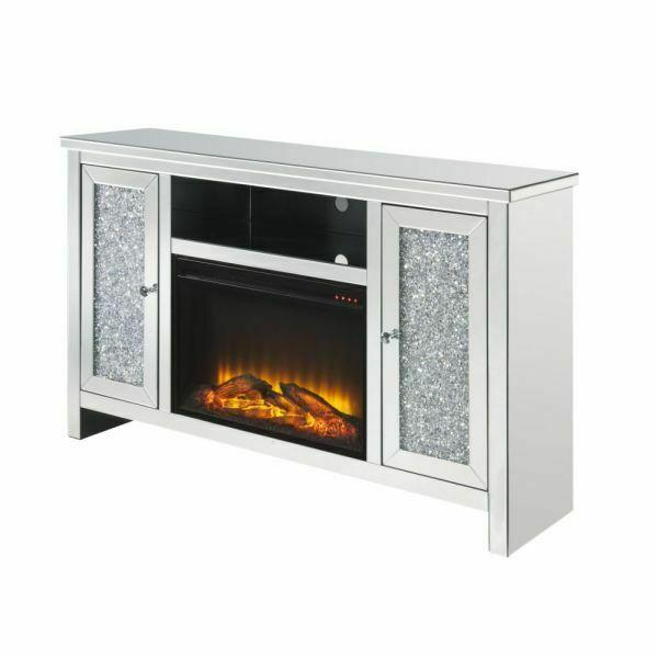 ACME Noralie TV Stand w/Fireplace (LED) - 91775 - Glam - Electric Fireplace (LED), Mirror, Glass, MDF, Faux Diamonds (Acrylic) - Mirrored and Faux Diamonds